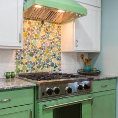 Green Kitchen with Glass Tile Backsplash