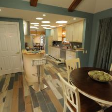 Kitchen with Multicolored Wood Floor
