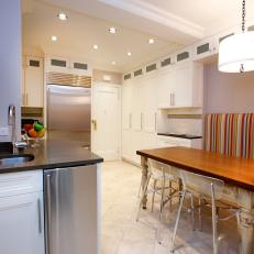 Contemporary Eat-In Kitchen with Striped Banquette