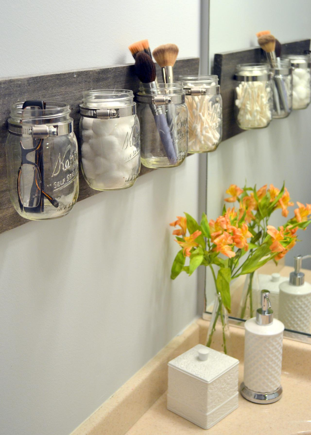 Small Bathroom Jars small space bathroom storage ideas | diy network blog: made +