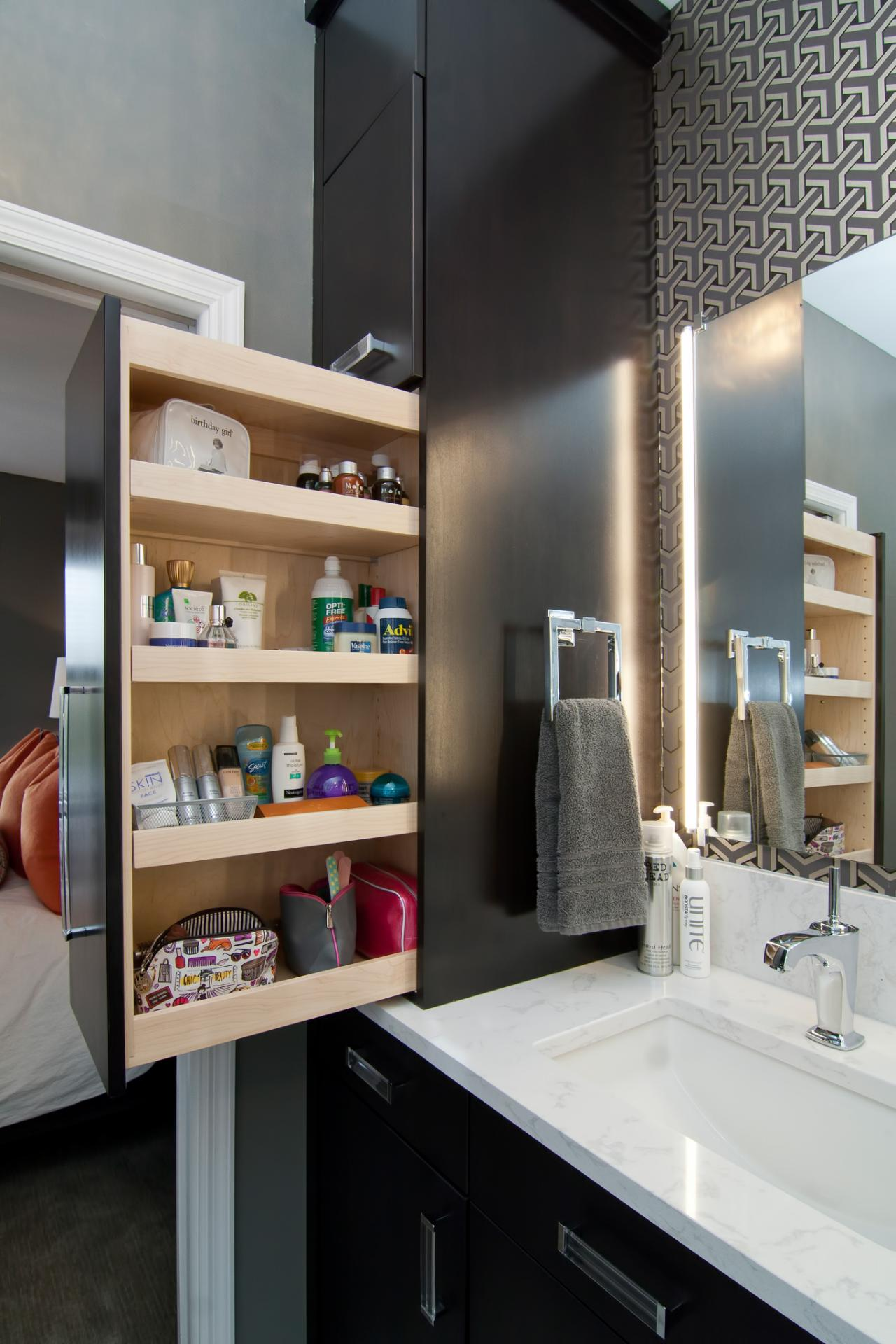 Small space bathroom storage ideas diy network blog - Bathroom mirror with hidden storage ...