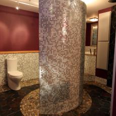 Eclectic Maroon Bathroom with Neutral Mosaic Tile Backsplash