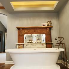 Shabby Chic Neutral Bathroom with White Freestanding Bathtub