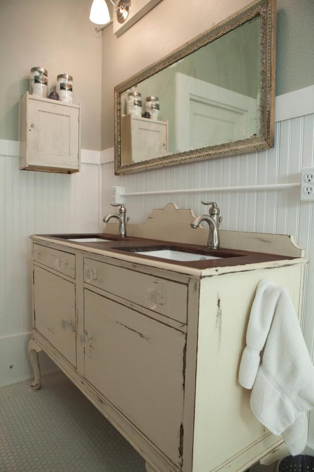 Antique Dining Buffet Used as Bathroom Vanity - 3 Vintage Furniture Makeovers For The Bathroom DIY Network Blog
