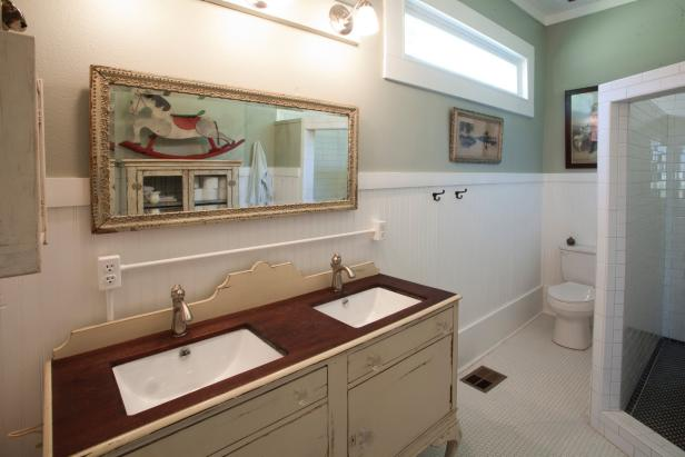 Master Bathroom with Antique Vanity Makeover