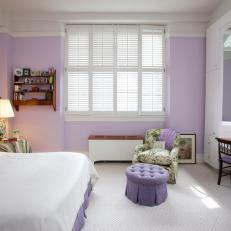 Purple and White Bedroom with Floral Accents