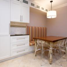 Contemporary White and Brown Eat-In Kitchen