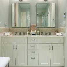 Contemporary White Bathroom with Double Vanities