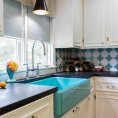 White Kitchen with Teal Farmhouse Sink