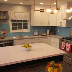 Contemporary Kitchen with Blue Tile Backsplash