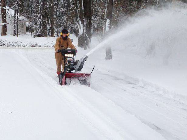 Snow Blowing a Driveway