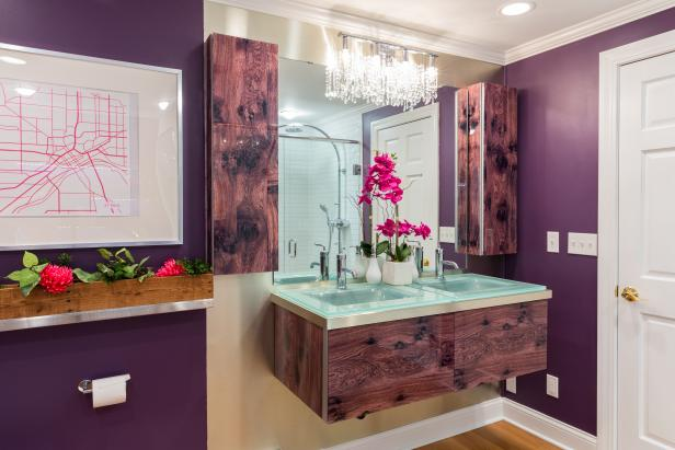 Contemporary Purple Bathroom with Wood Grain Cabinets