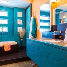 Bathroom with Blue Moroccan Plaster Walls