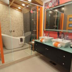 Modern Orange and Black Bathroom with Glass Shower