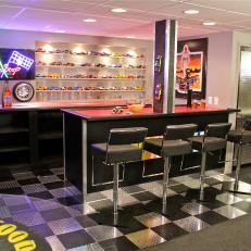 NASCAR Themed Den with Bar