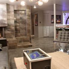 Modern Black Living Room with Metallic Fireplace