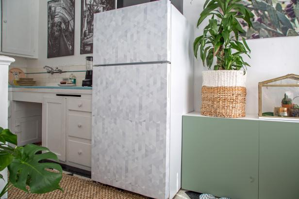 How to cover a refrigerator with removable wallpaper hgtv - Removable wallpaper for renters ...