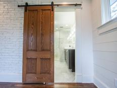Sliding Door in Bathroom Entryway