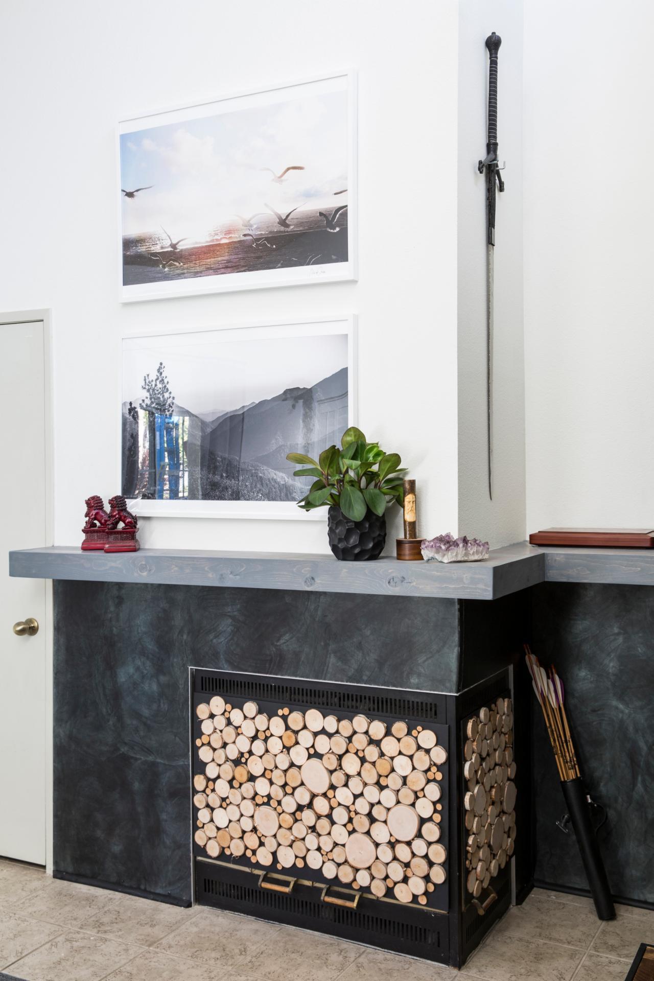 how to make a log slice fireplace screen how tos diy