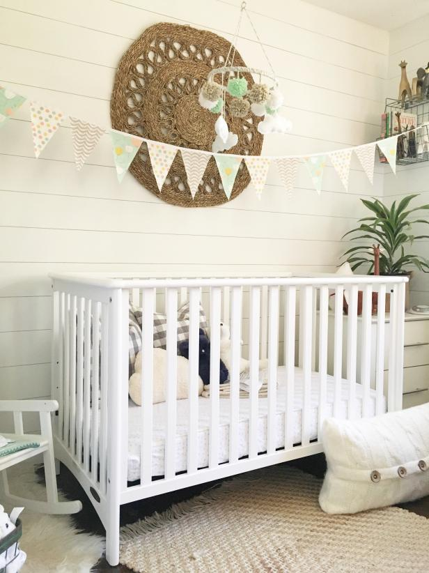 Transitional Nursery with DIY Shiplap Walls and Organic Wall Art