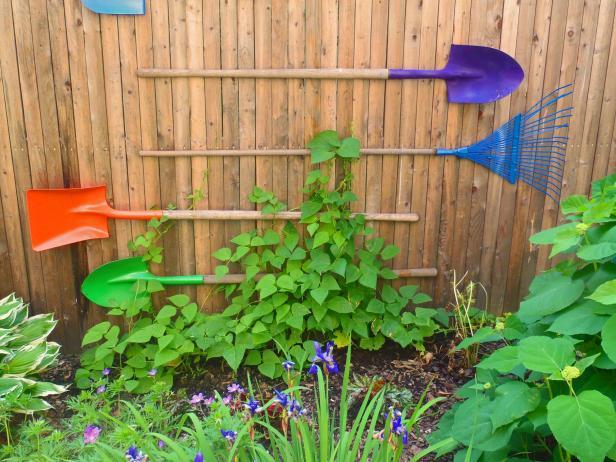 Turn Old Garden Tools Into a Trellis