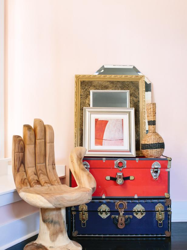 Eclectic Decor with Frames and Suitcases