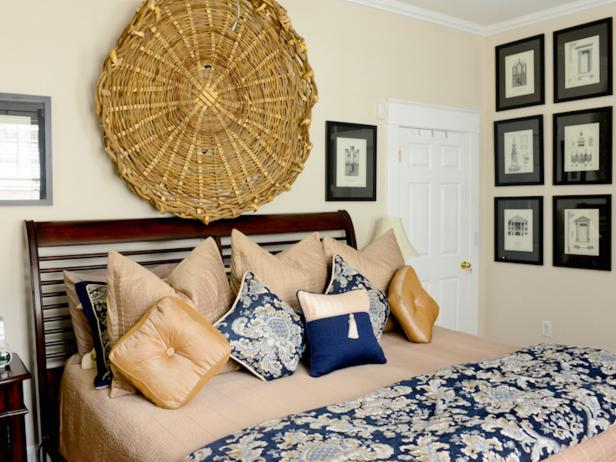 Handwoven Basket Above Bed in Master Bedroom