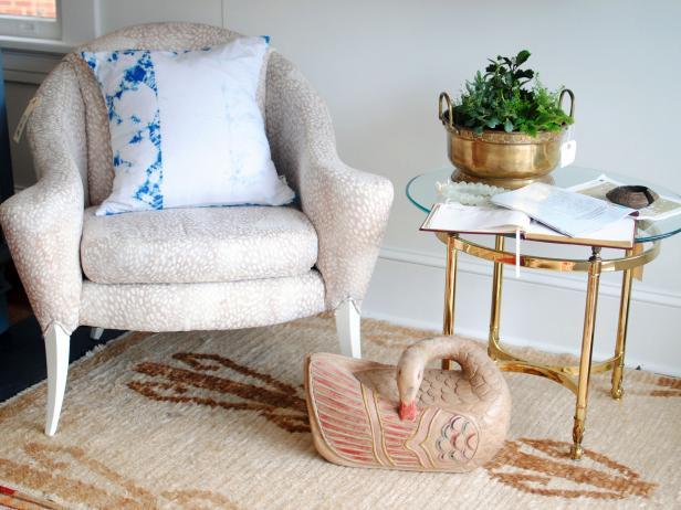 Indigo DIY Dyed Pillowcase on Cream Chair
