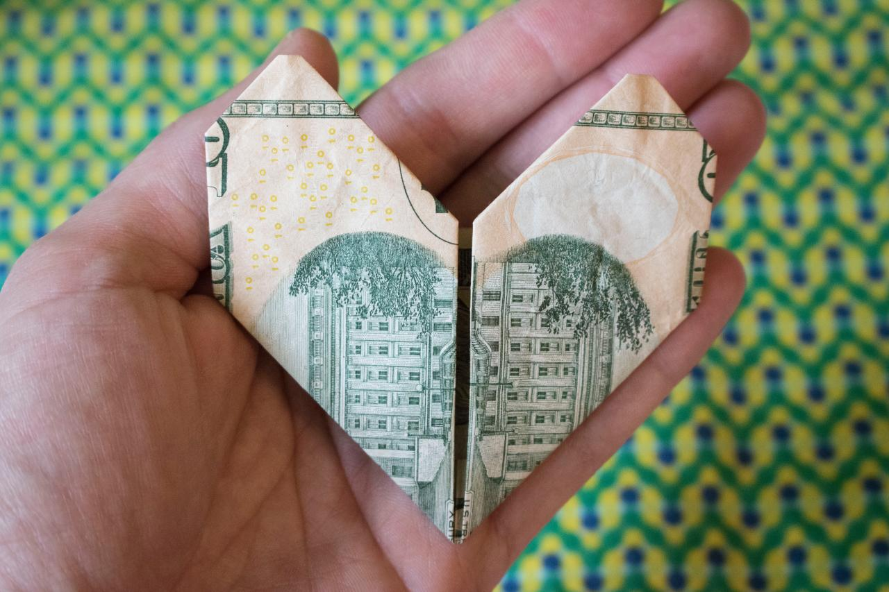 How to Fold a Dollar Bill Into an Origami Heart | HGTV - photo#24