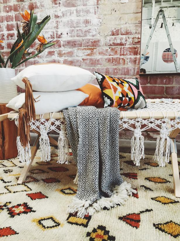 Eclectic Bench With Fringe and Rug