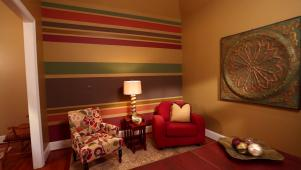 Paint an accent wall with Horizontal Stripes