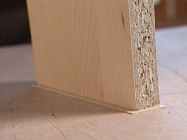 use strips of wood veneer for unfinished edges