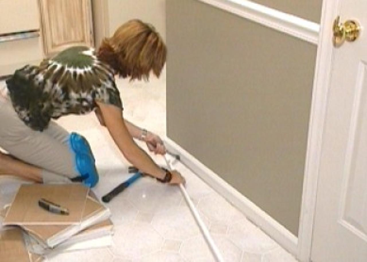How to install self stick floor tiles how tos diy remove old flooring in sections dailygadgetfo Choice Image