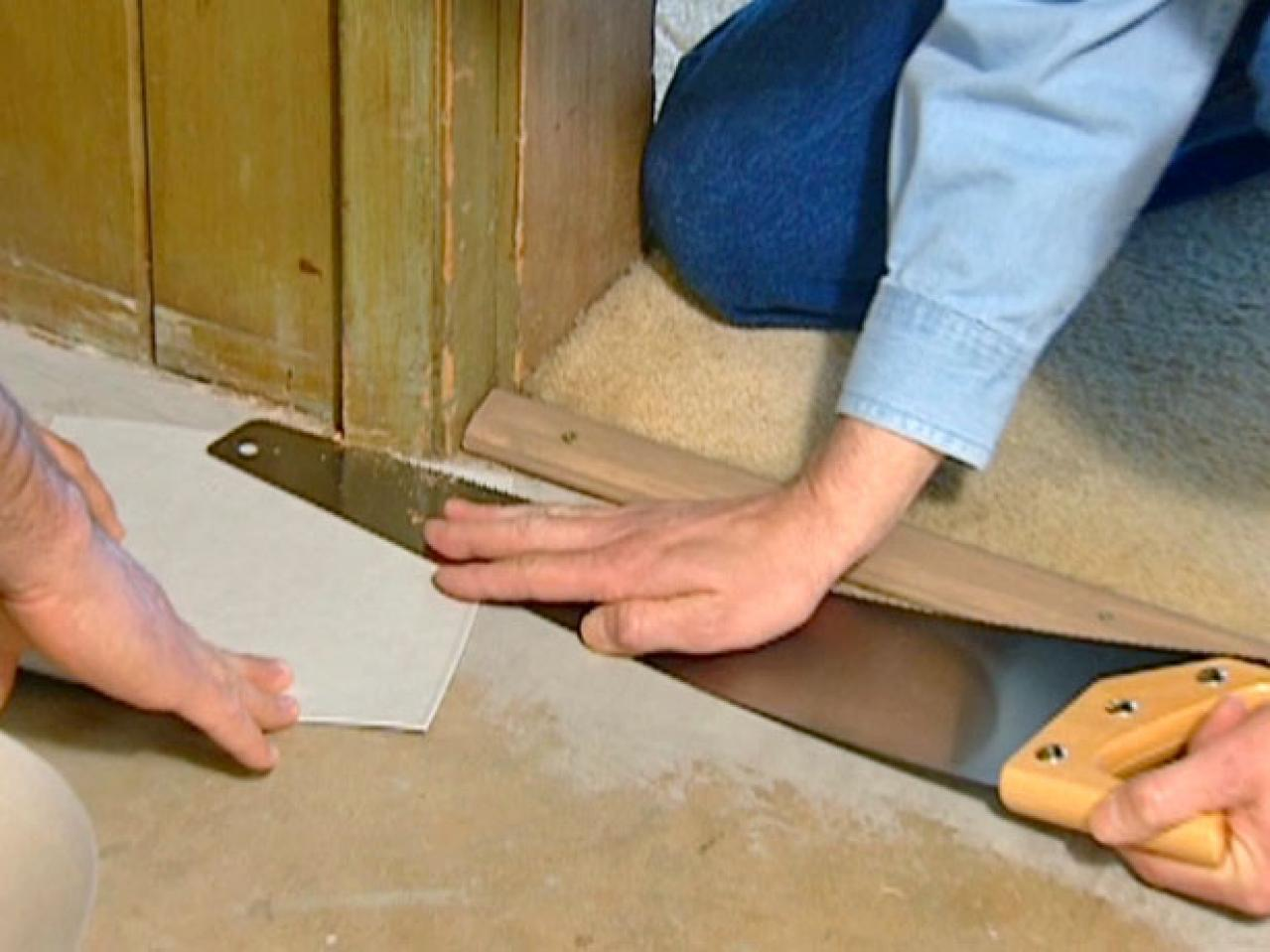 How to install vinyl flooring how tos diy flooring needs to fit under door frame dailygadgetfo Image collections