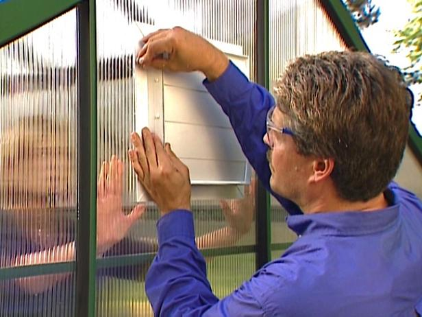 install louver on outside of greenhouse