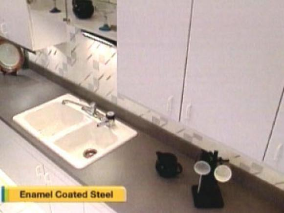 enamel covered steel sink is lower end option