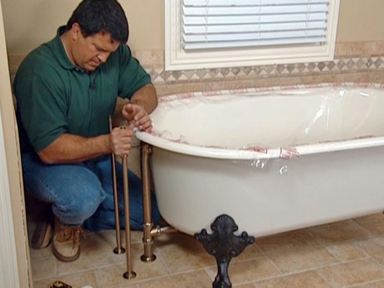 how to install a clawfoot tub How to Install Plumbing for a Claw Foot Tub | how tos | DIY how to install a clawfoot tub