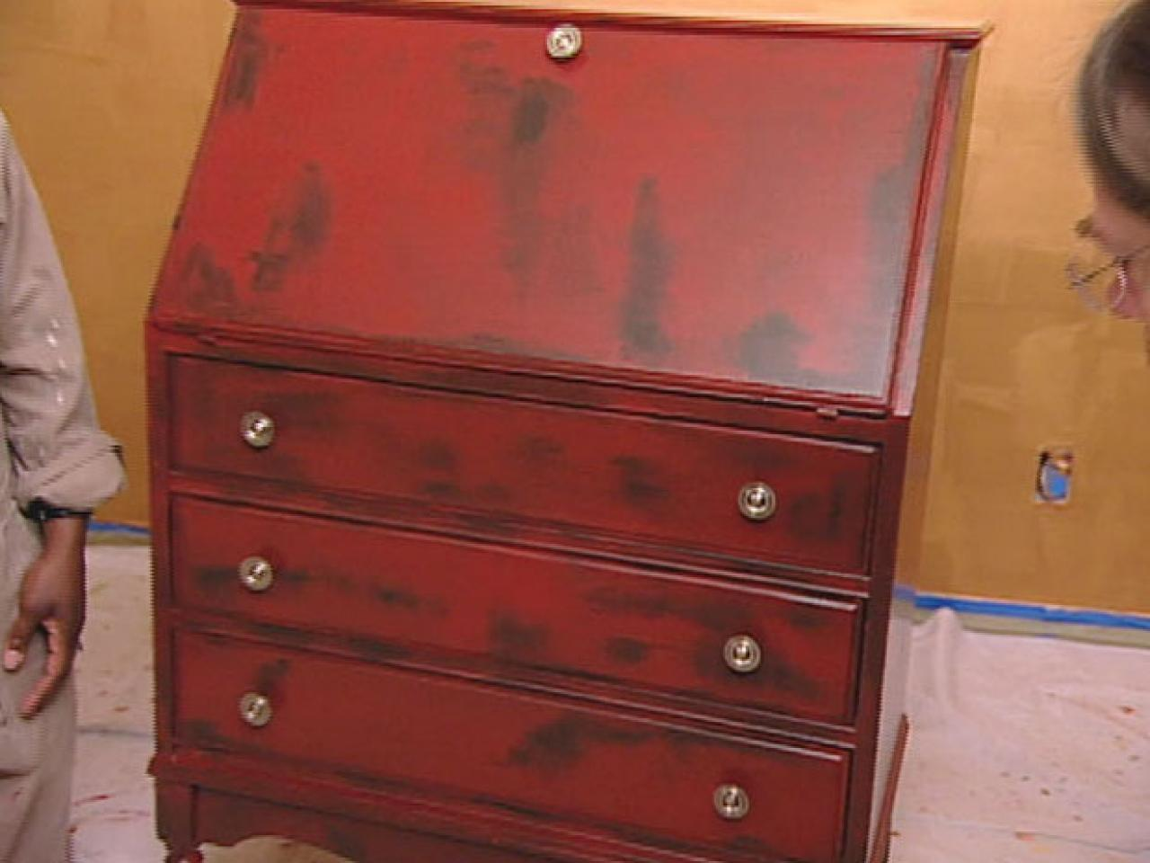 painted red furniture. Apply Negoro Nuri Painting Technique Painted Red Furniture