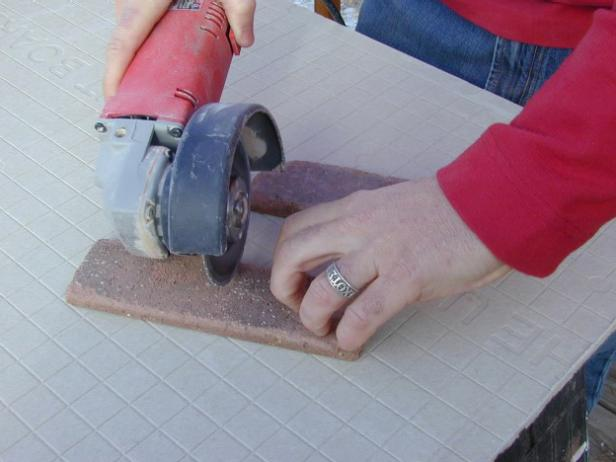 cut thin brick in half using a tile cutter