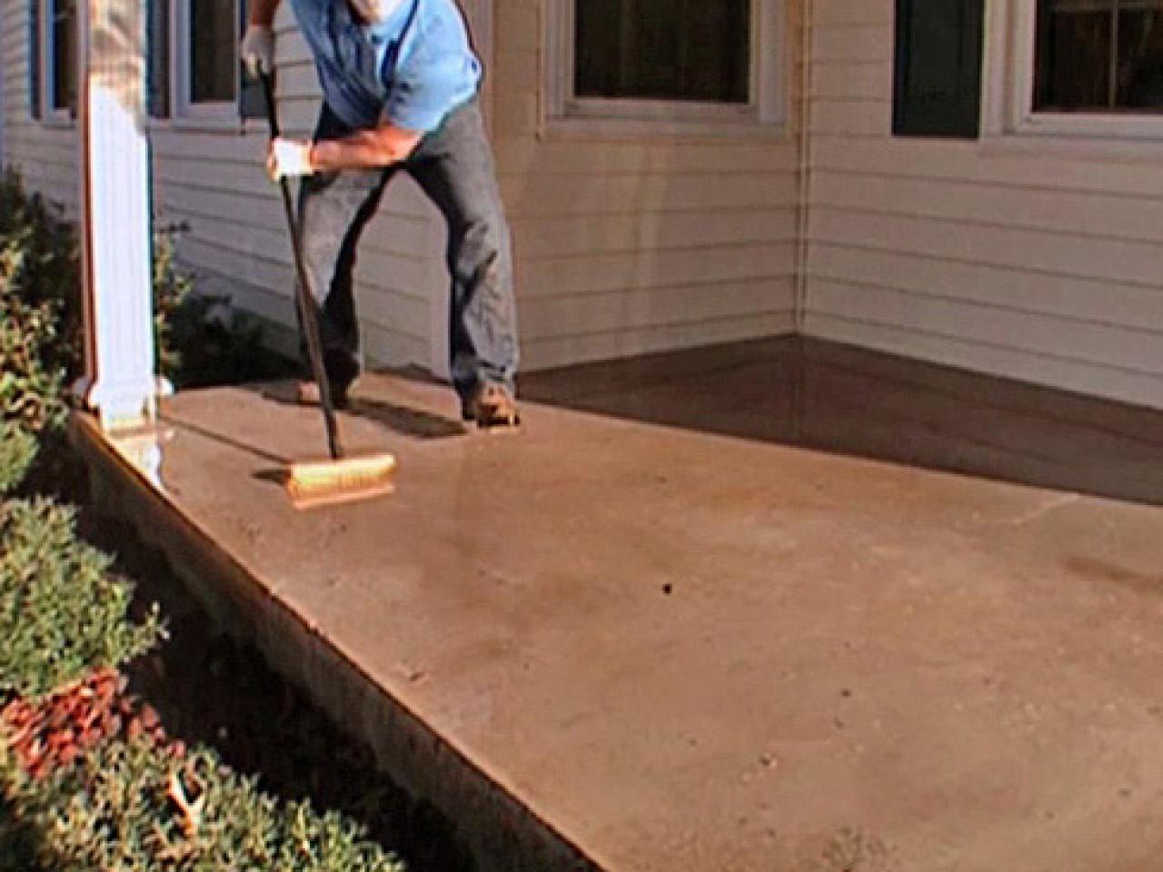 How to stamp a concrete porch floor how tos diy Exterior concrete floor coatings