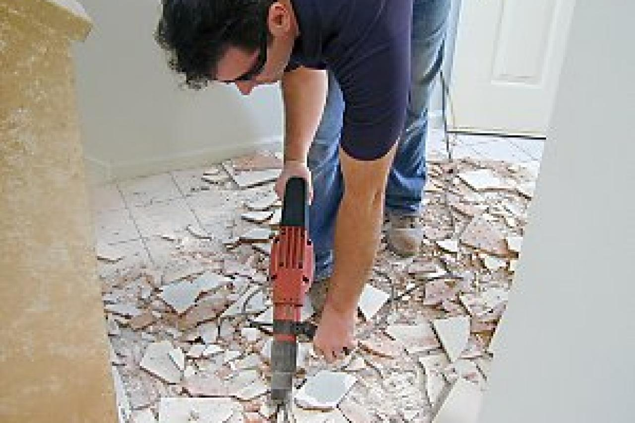 How to install natural stone tile flooring how tos diy remove the old tile dailygadgetfo Image collections