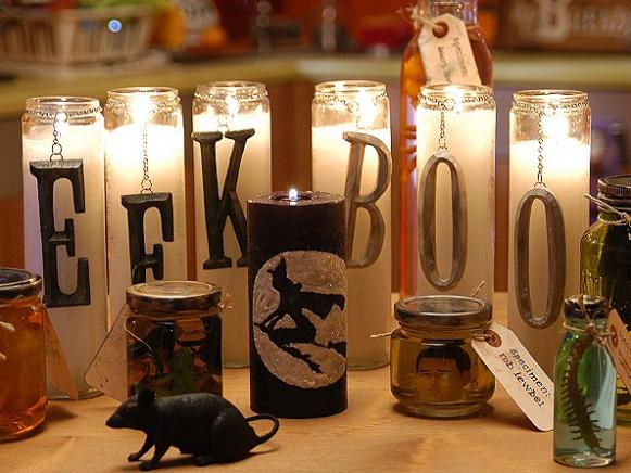 Spooky and Glitzy Candles