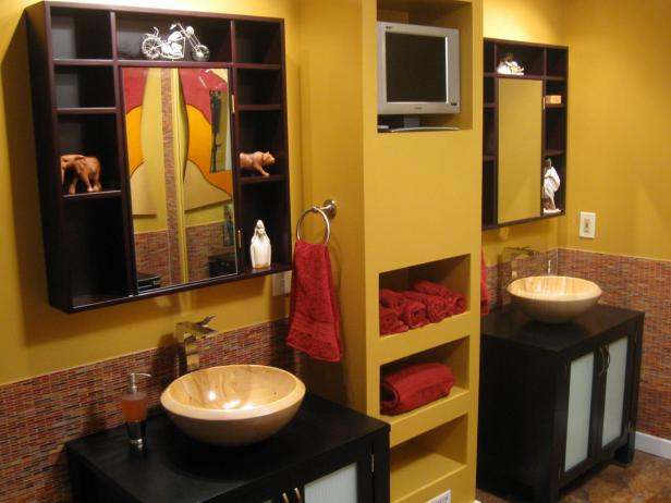 Yellow Bathroom With Cut-Out Shelves