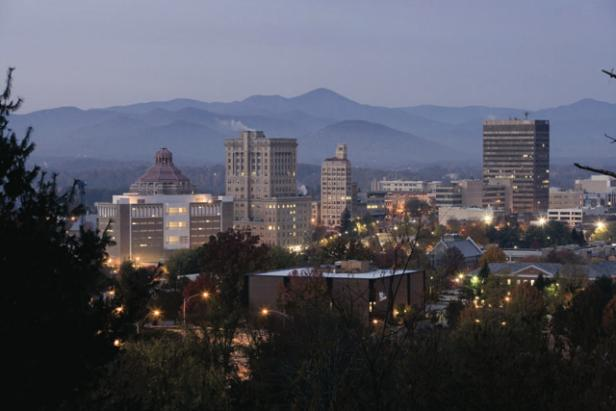 Asheville Skyline Against a Mountain Backdrop