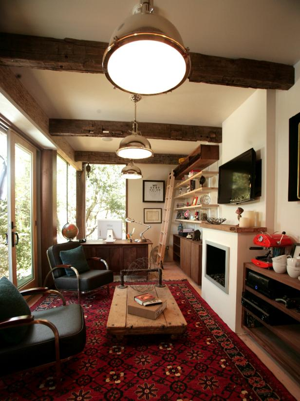 Home Office With Beams and Industrial Lighting
