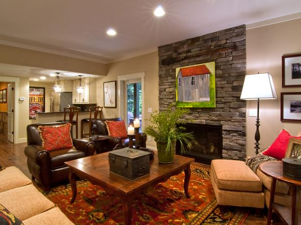 Basement living room from diy network blog cabin 2009 for Cost to build a bar in basement