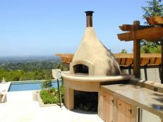 Outdoor Kitchen With Adobe Style Oven
