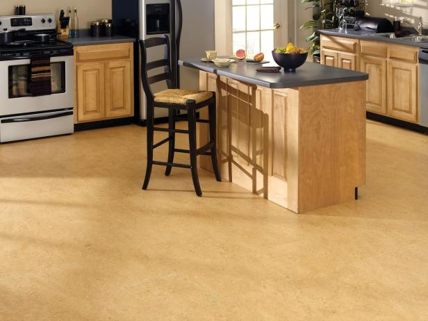 Eco-Friendly Corkoleum Floor in Contemporary Kitchen