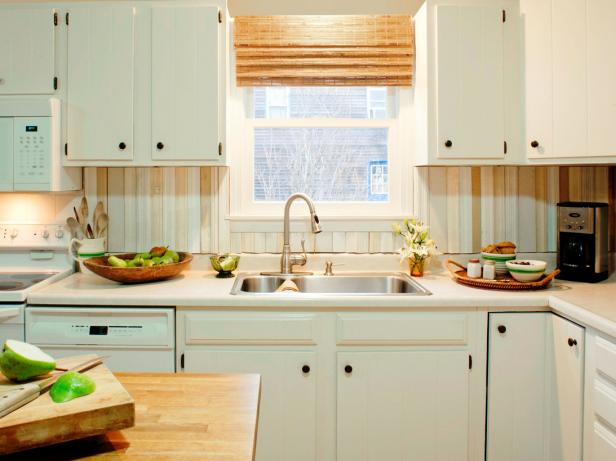 White Kitchen With Salvaged Wood Backsplash