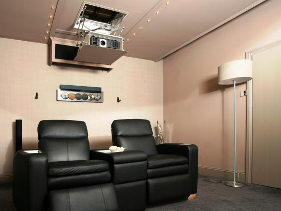Home Cinema with Black Chair and Projector